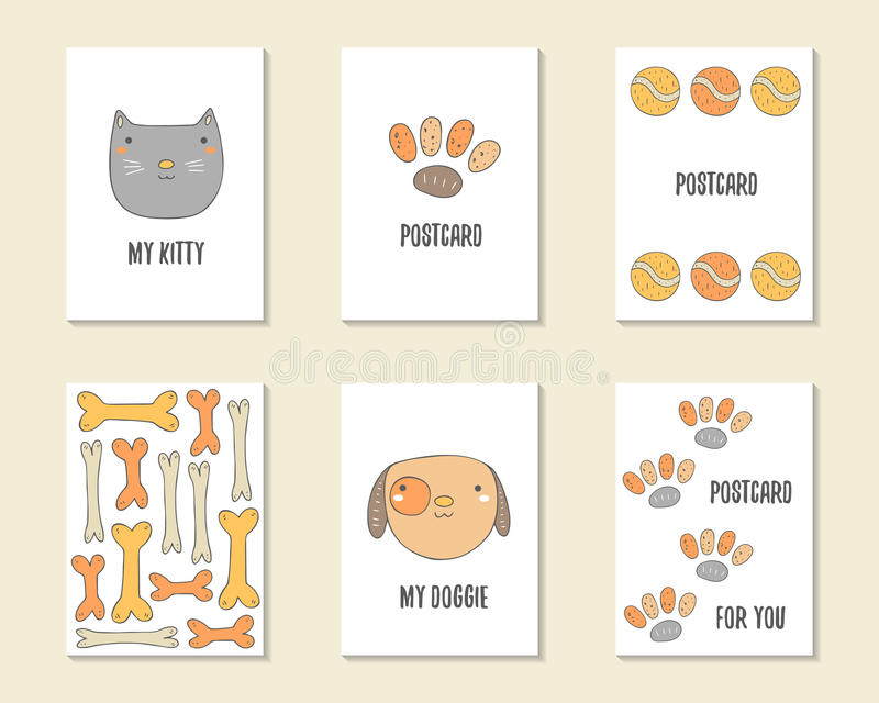 Cute Hand Drawn Doodle Birthday, Party, Baby Shower Cards Stock ...