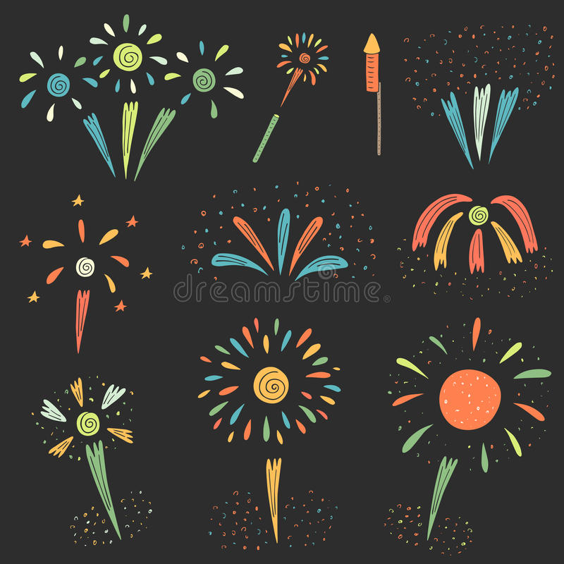 Cute hand drawn doodle firework collection. For new year and other holidays. Colorful firework icon, banner stock illustration