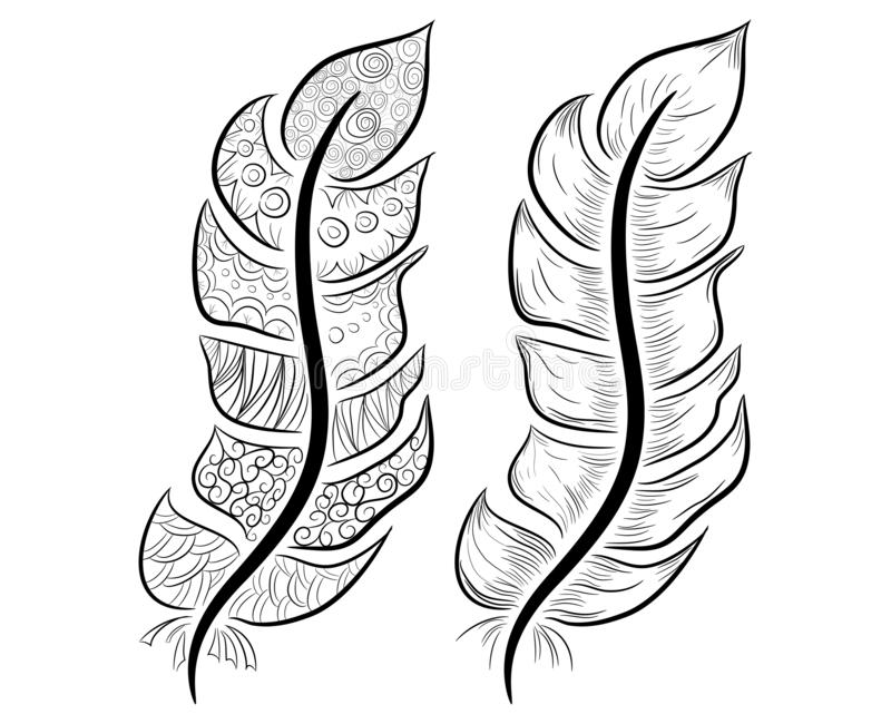 Cute hand drawn feather collection in scandinavian style stock illustration