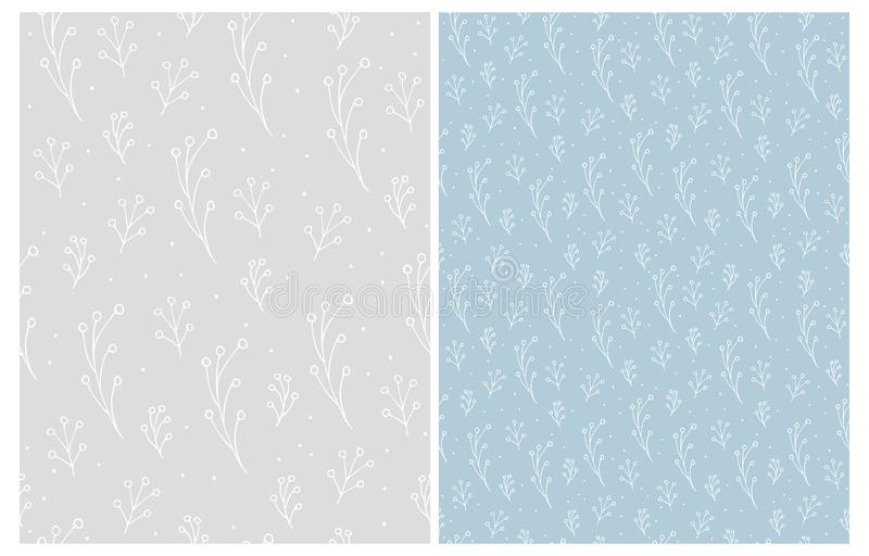 Cute Hand Drawn Floral Seamless Vector Patterns. White Twigs Isolated on a Light Blue and Light Gray Backgrounds. stock illustration