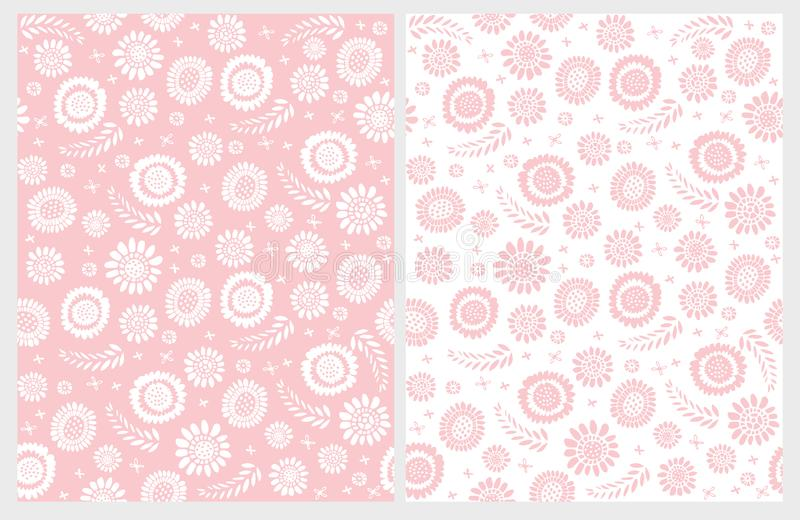 Cute Hand Drawn Floral Vector Patterns. White and Pink Design. Delicate Pastel Illustation. stock illustration