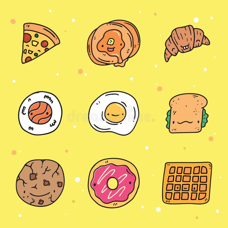 Cute Hand Drawn Food with Adorable Faces Collection stock illustration