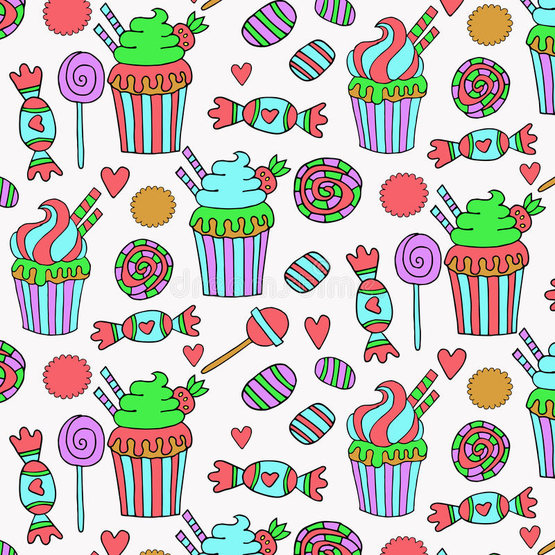 Cute hand drawn sweets pattern stock illustration