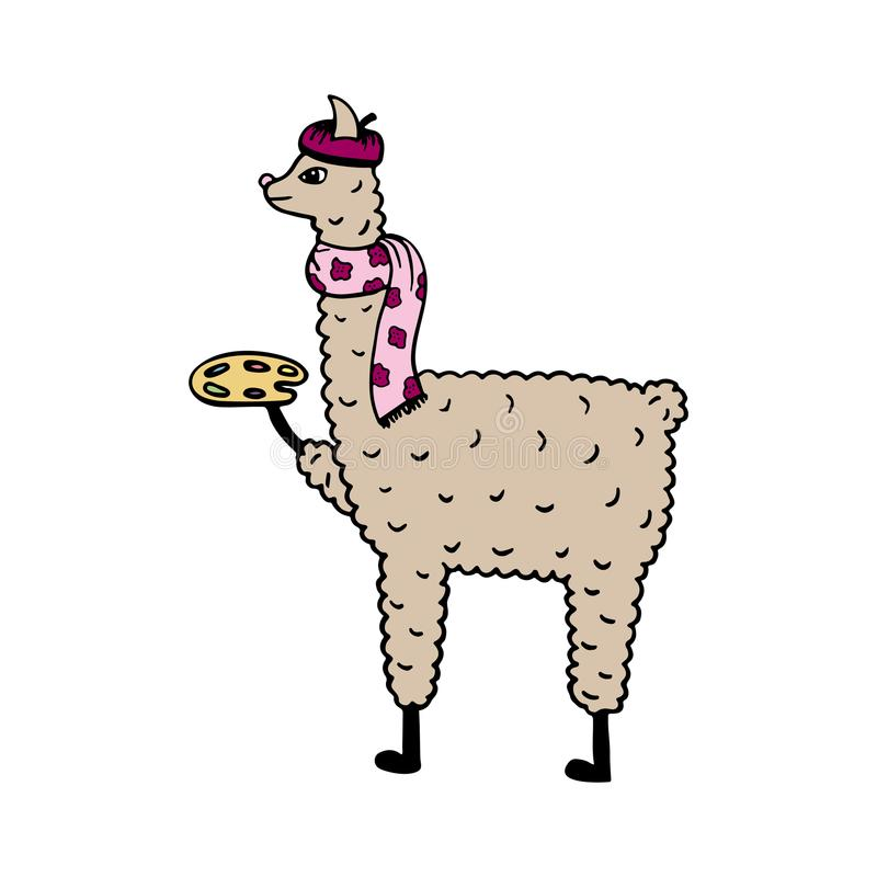 Cute hand-drawn illustration of a lama-artist with the palette royalty free illustration