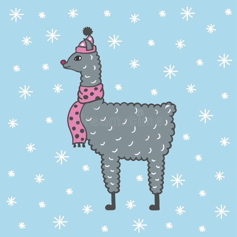 Cute hand-drawn illustration of a lama in a cap and a scarf. vector illustration