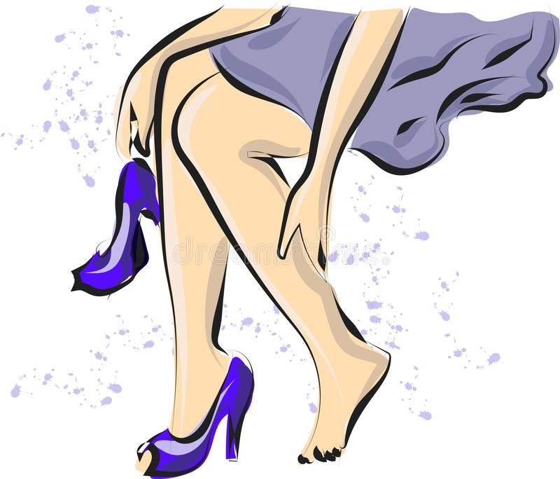 Cute hand drawn legs in court shoes. Fashion accessories. Sketch. Vector illustration royalty free illustration