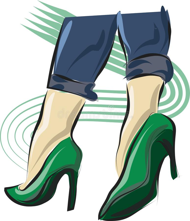 Cute hand drawn legs in green court shoes. Fashion accessories. Sketch. Cute hand drawn legs in court shoes. Fashion accessories. Sketch. Vector illustration stock illustration