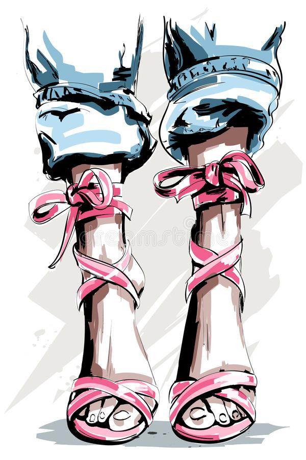 Cute hand drawn legs in shoes. Beautiful summer shoes. vector illustration
