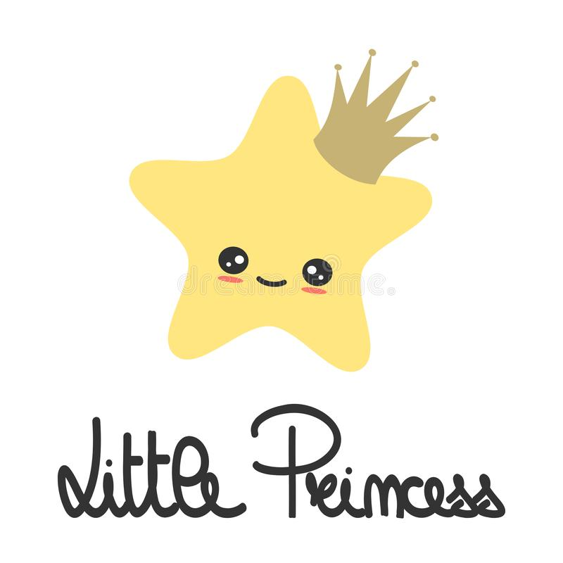 Cute Hand Drawn Lettering Little Princess Slogan With Cartoon Star With Crown Vector Illustration For Kids Poster And Baby Room De Stock Vector Illustration Of Concept Greeting 155572383 Star crown is a tool spirit with the most potent supporting attack ability. cute hand drawn lettering little