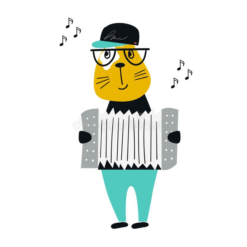 Cute hand drawn nursery poster with cartoon cat animal with accordion. Vector illustration in scandinavian style royalty free illustration