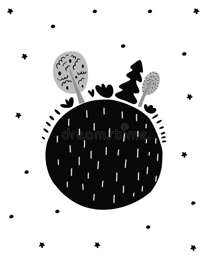 Cute hand drawn nursery poster with cartoon shere earth and trees. Scandinavian style. Monochrome black and white illustration royalty free illustration