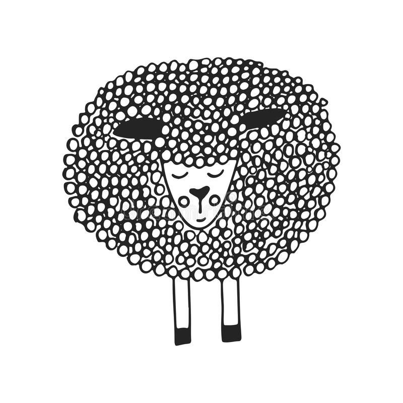 Cute hand drawn nursery poster with unique little sheep in scandinavian style. Monochrome illustration royalty free illustration