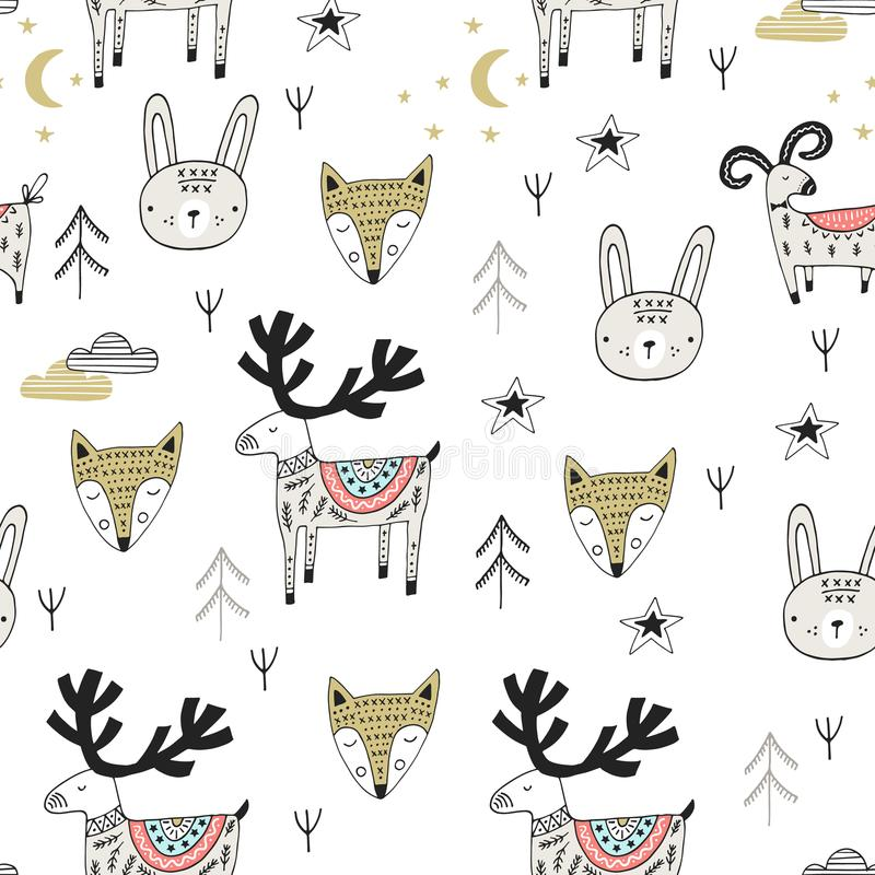 Cute hand drawn nursery seamless pattern with wild animals in scandinavian style. Vector illustration vector illustration