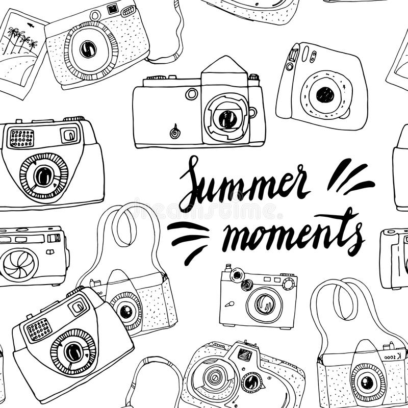 Cute hand drawn old and new cameras. Best summer memories. stock illustration