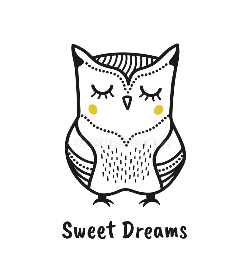 Cute hand drawn owl with quote. Sweet dreams. Print stock illustration