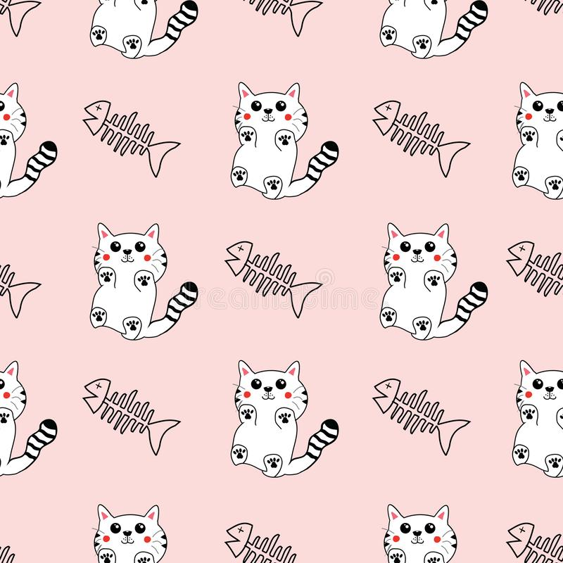 Cute hand drawn pattern background with cats and fish bones. royalty free illustration