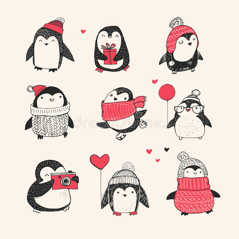 Cute hand drawn penguins set - Merry Christmas royalty free illustration