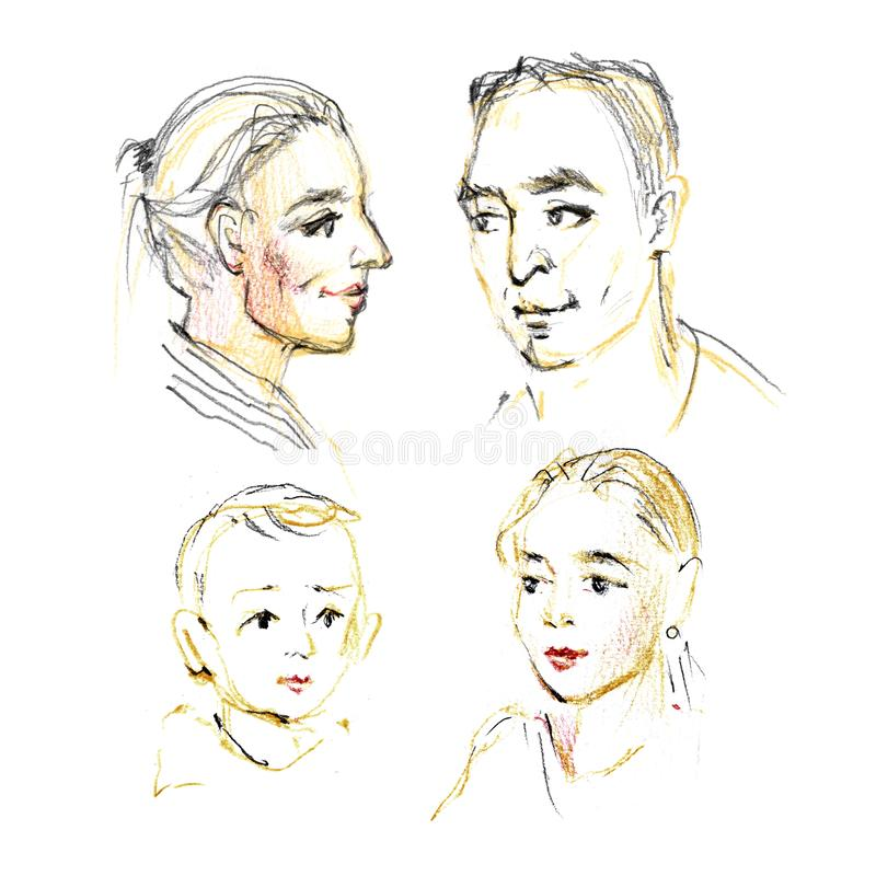 Cute hand drawn picture family portrait. Sketch on white background stock photography