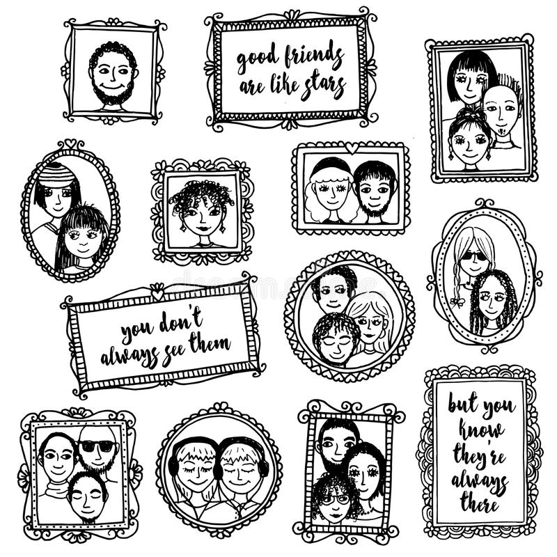 Cute Hand Drawn Picture Frames With People And Inspirational Quote ...