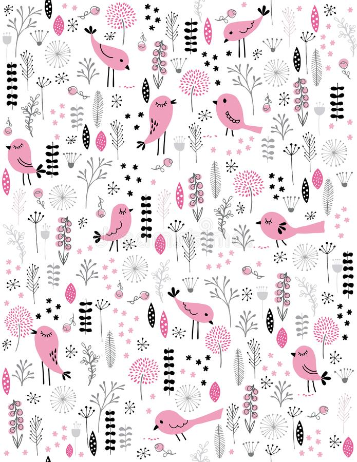 Cute Hand Drawn Pink Vector Birds. Grey, Pink and Black Twigs, Flowers and Leaves. White Background. Childish Style Illustration. Pink abstract birds among royalty free illustration