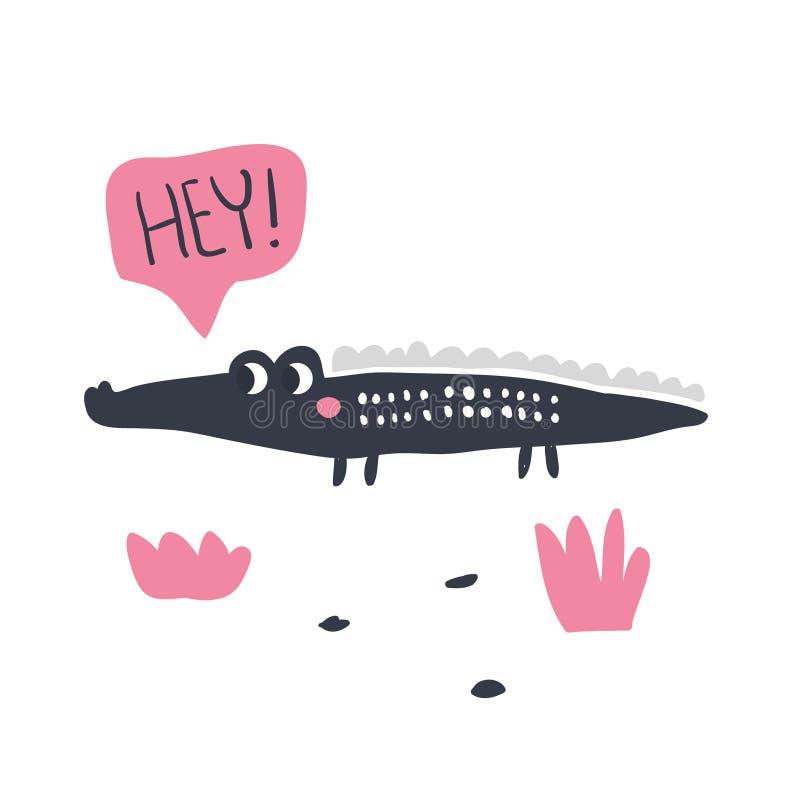 Cute hand drawn portrait of a crocodile vector illustration