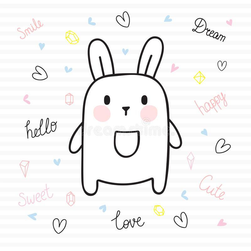 Cute hand drawn postcard with funny bunny. Card for little girl or boy. Template for your design. Doodle style. Sketchy character stock illustration