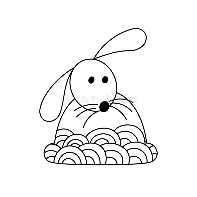 Cute Hand Drawn Rabbit, Coloring Pages For Adults And Kids. Easter  Background With Creative Ornament Stock Illustration - Illustration Of  Happiness, Baby: 164877688