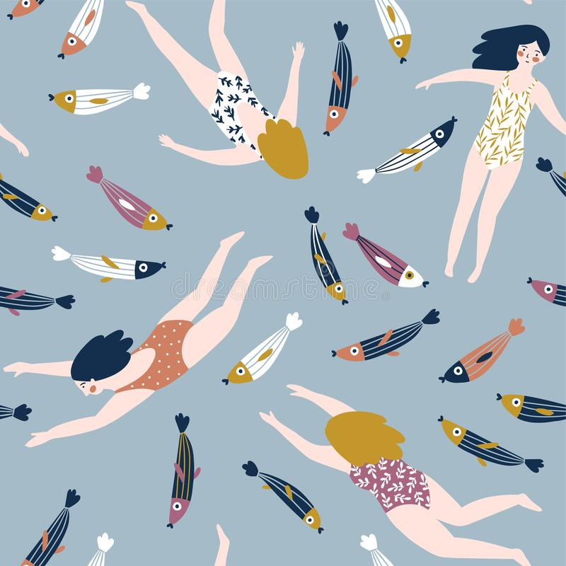 Cute hand-drawn repeat pattern design with swimming girls and fish. Underwater seamless background. Vector stylish su vector illustration