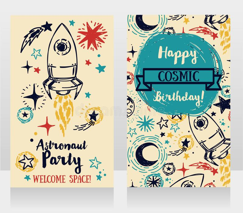 Invitation cards for boy`s birthday party. Cute hand drawn rocket on stars background, invitation cards for boy`s birthday party, sketch style vector royalty free illustration