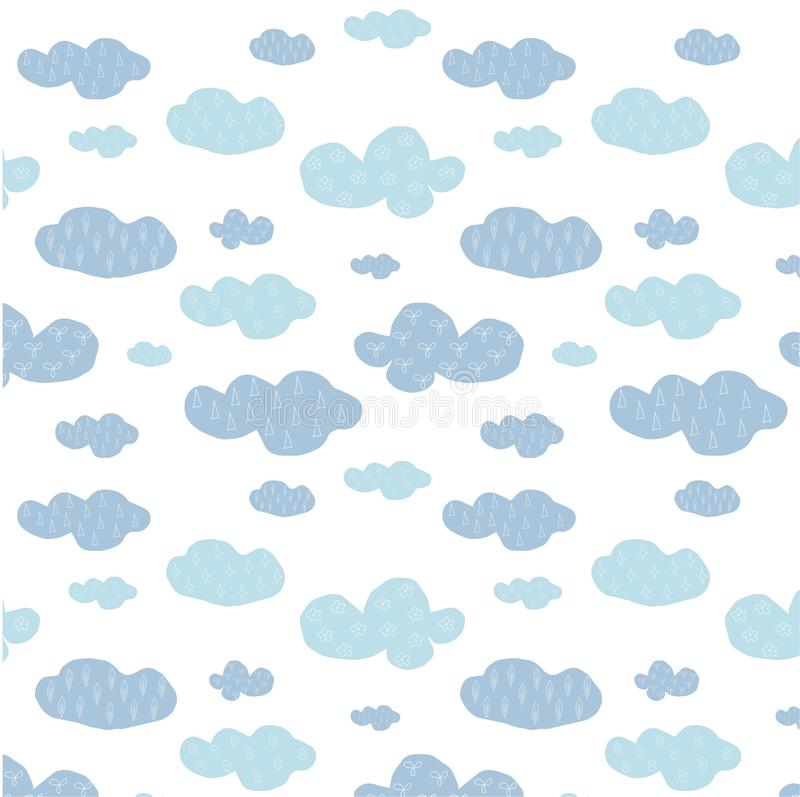 Cute hand drawn seamless blue clouds pattern on white. Vector illustration royalty free illustration