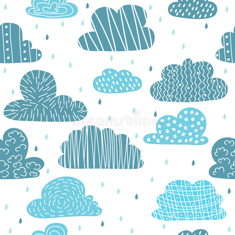 Cute hand drawn seamless pattern with clouds. Funny background royalty free stock photo