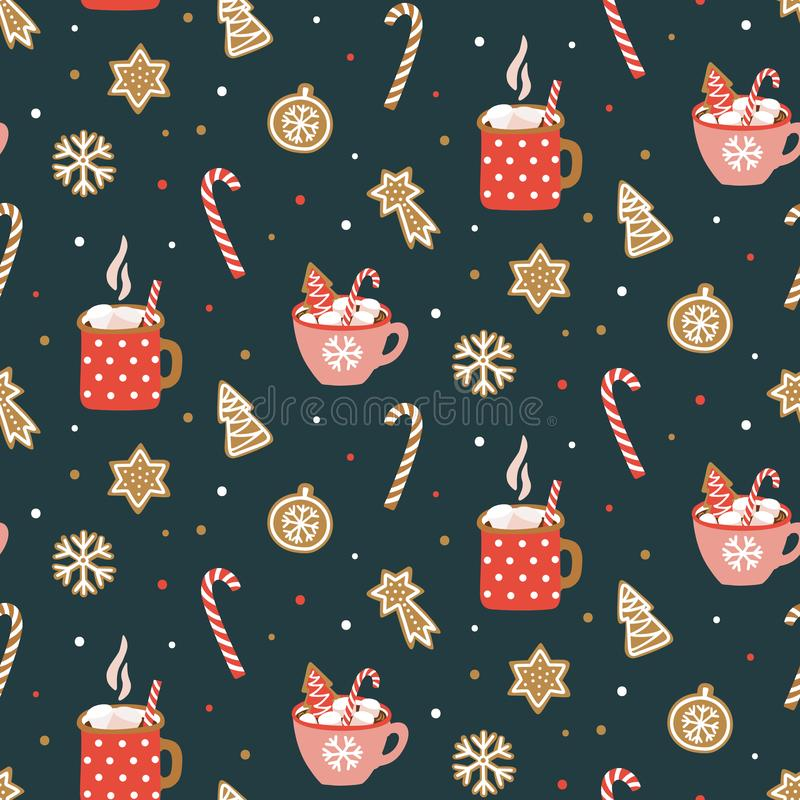 Cute hand drawn seamless pattern with cocoa, marshmallow and christmas cookies. stock illustration