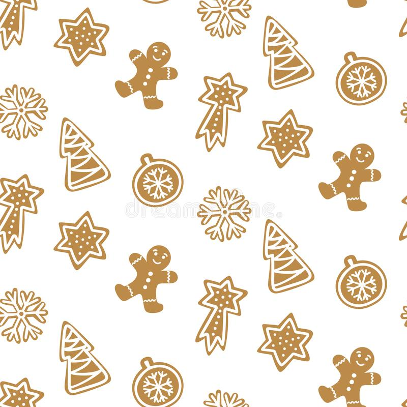 Cute Hand drawn seamless pattern with cookie. Gingerbread on white background repeating wallpaper. Vector design for Christmas season stock illustration