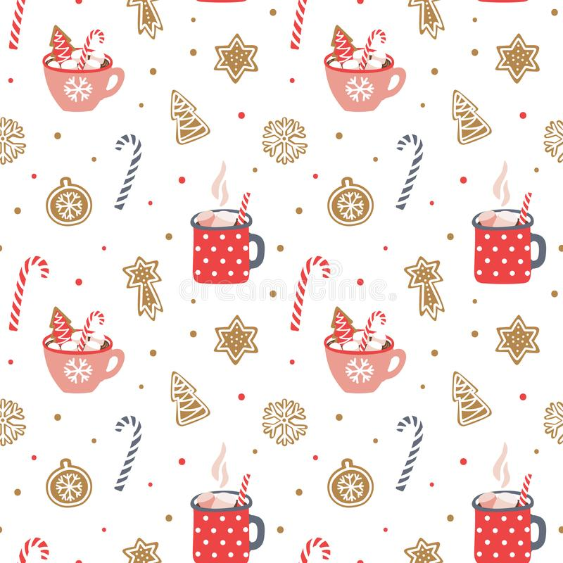 Cute hand drawn seamless pattern. stock illustration