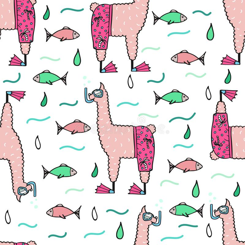 Cute hand-drawn seamless pattern of a lama in the beach shorts royalty free illustration