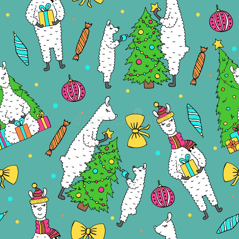 Cute hand drawn seamless pattern with lovely lamas vector illustration