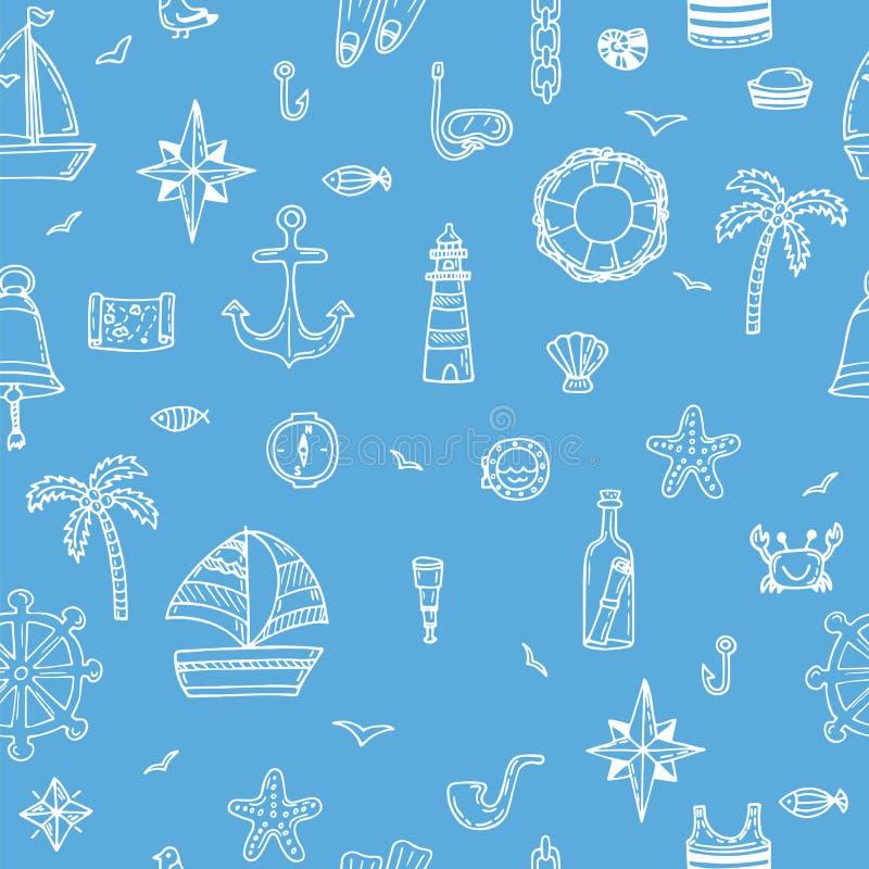 Cute hand drawn seamless pattern with nautical elements. Nautical icons. Marine symbols. Vector illustration stock illustration