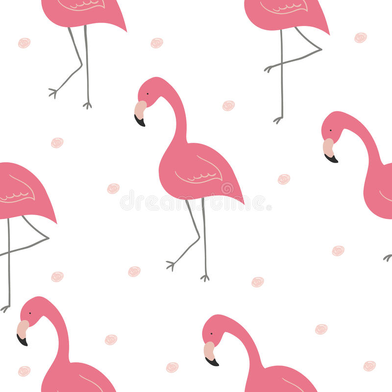 Cute hand drawn seamless pattern with pink flamingo. Vector print.  stock illustration