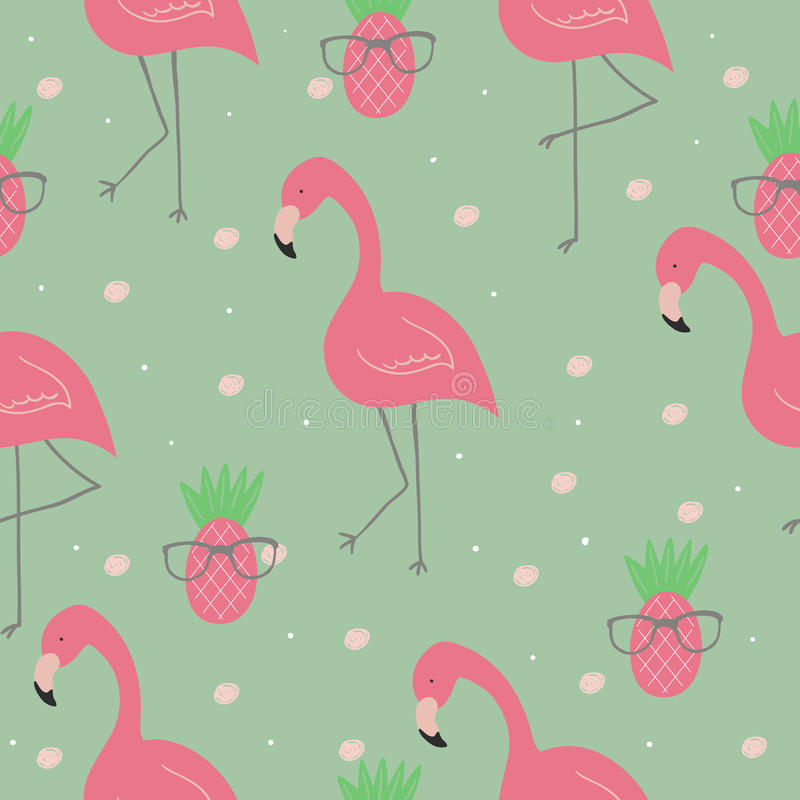 Cute hand drawn seamless pattern with pink flamingo. Vector print.  vector illustration