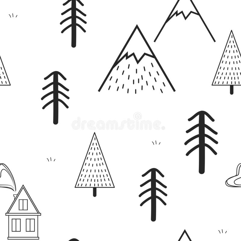 Cute hand drawn seamless pattern with trees, house, and mountains. Creative scandinavian woodland background. Forest vector illustration