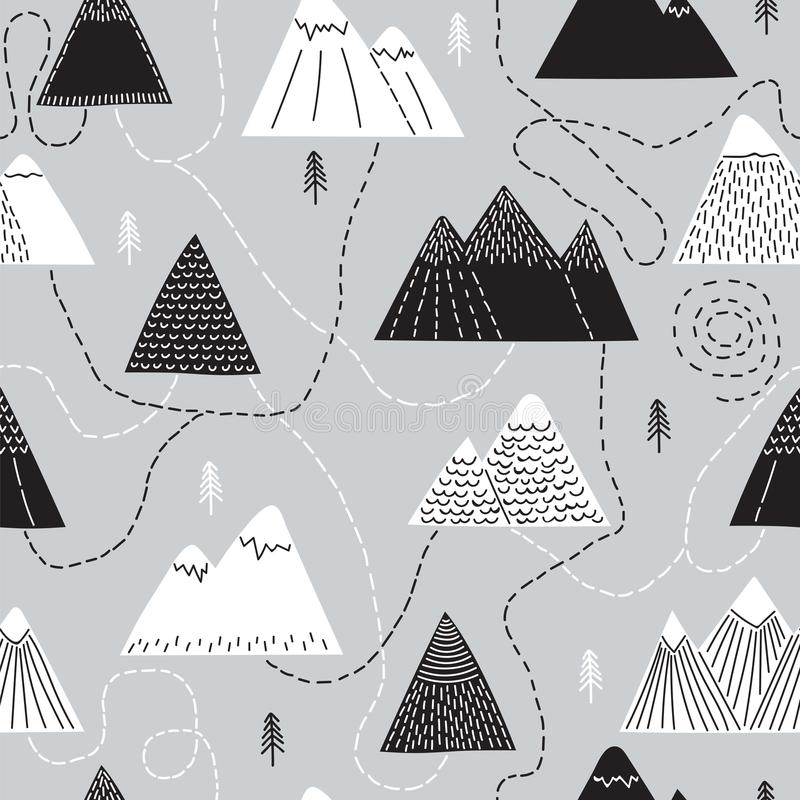 Cute hand drawn seamless pattern with trees and mountains. Creative scandinavian woodland background. Forest. Stylish sketch royalty free illustration
