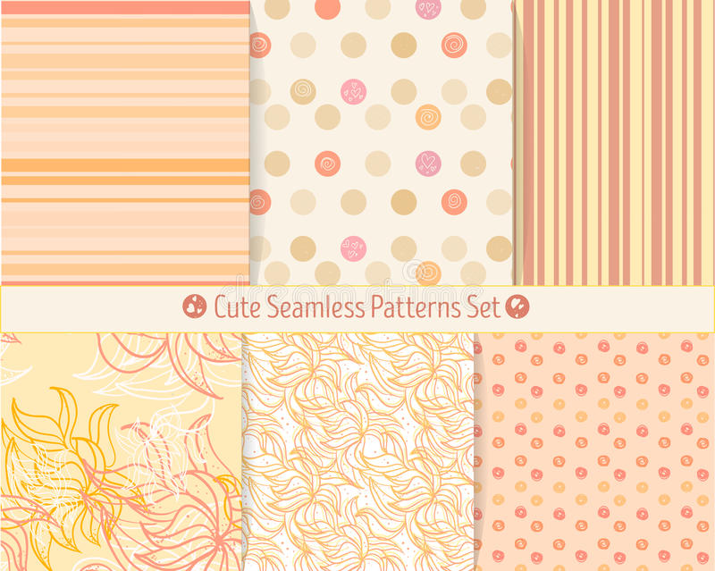 Cute hand-drawn seamless patterns. Endless texture for paper or scrap booking. All patterns in swatches panel stock illustration