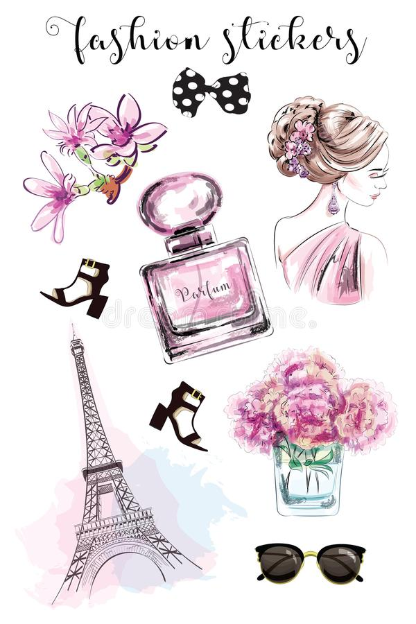 Cute hand drawn set with fashion stickers: beautiful woman, parfume bottle, flowers, shoes, eiffel tower and sunglasses. Stylish stickers collection. Sketch royalty free illustration