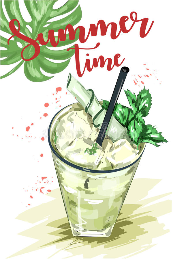 Cute hand drawn set with glass of mojito cocktail and green leaf. Summer time. Sketch. Vector illustration stock illustration