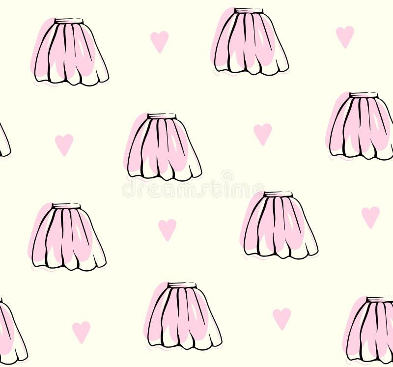 Cute hand drawn skirt pattern pastel background vector illustration