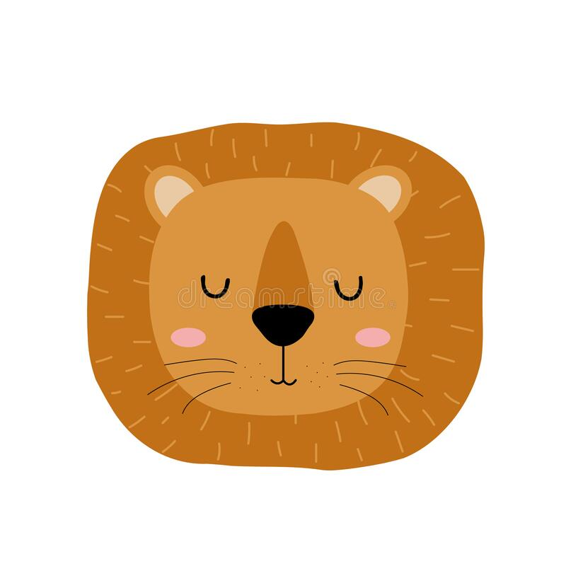 Free Cute Hand Drawn Sleeping Lion. Cartoon Zoo. Vector Illustration. Animal For The Design Of Children`s Products In Stock Photography - 174626352
