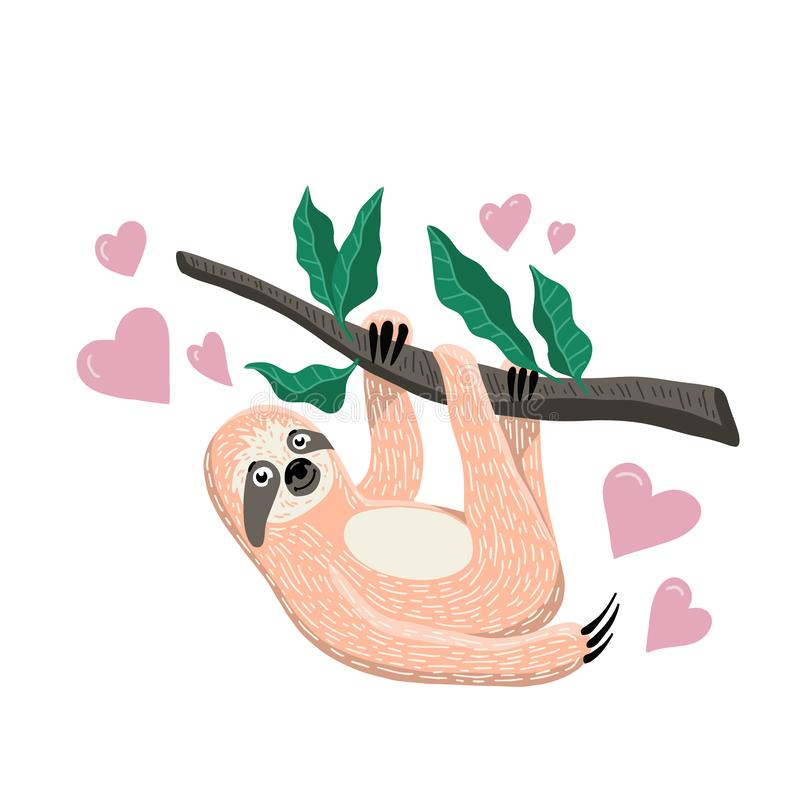 Cute hand drawn sloth hanging on the tree branch. Cartoon flat style. Vector illustration stock image