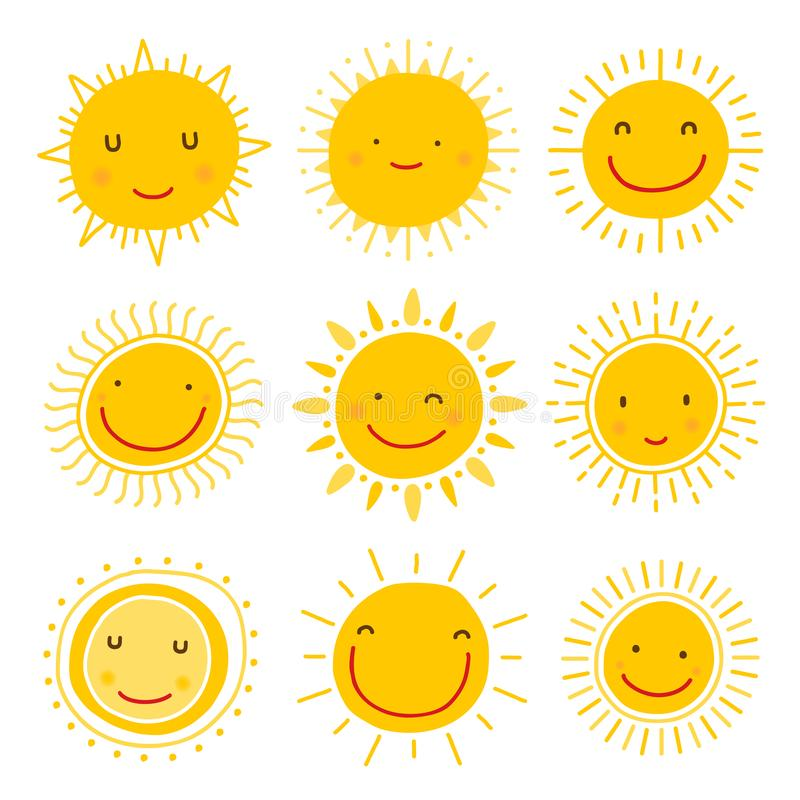 Cute hand drawn sun character vector collection royalty free illustration