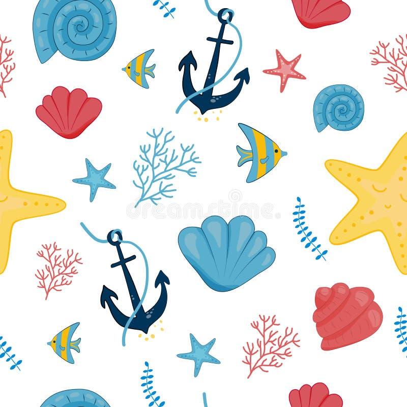 Sea pattern, shells anchor star vector illustration