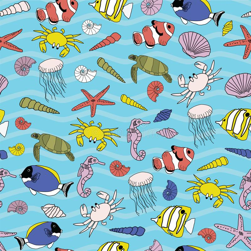 Cute hand drawn underwater scenery seamless pattern background. stock illustration